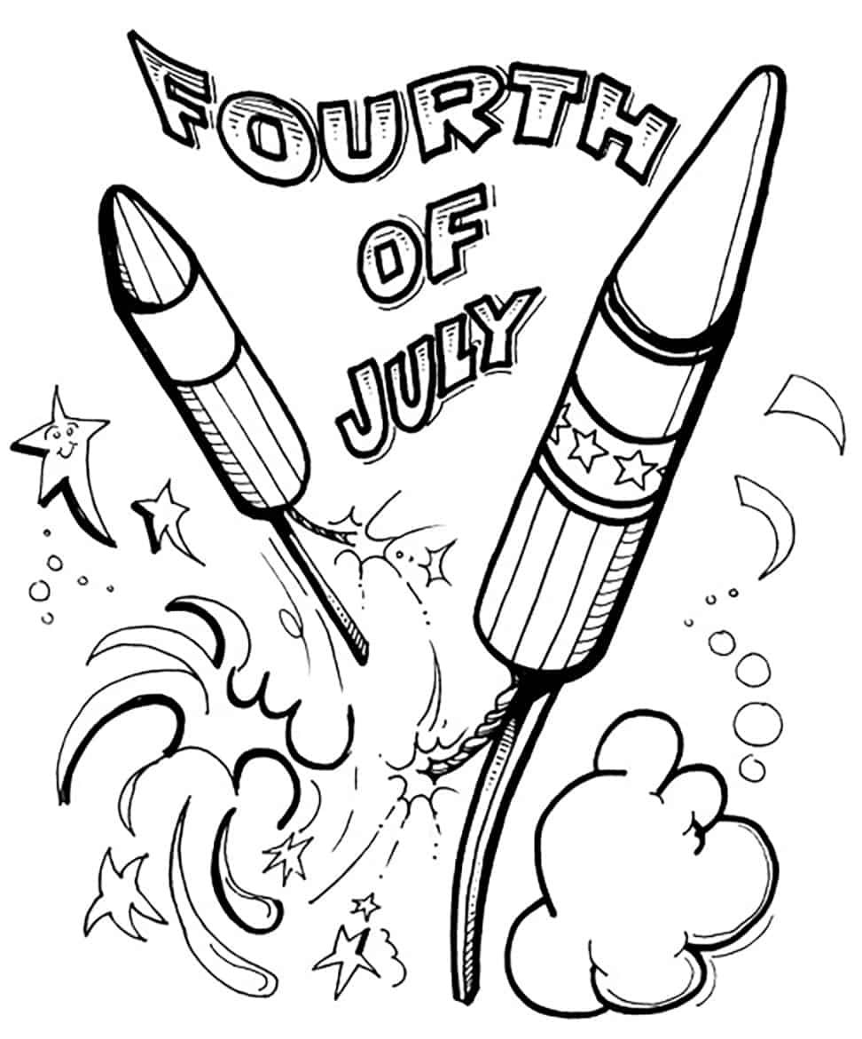 4th of july coloring fireworks - 4th Of July Coloring Pages