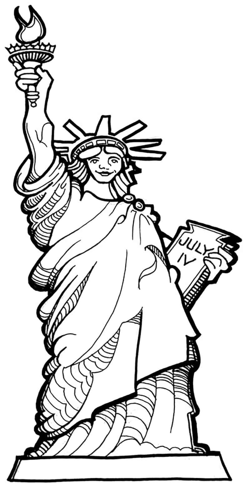 Free coloring pages for fourth of july - 4th Of July Coloring Statue Of Liberty