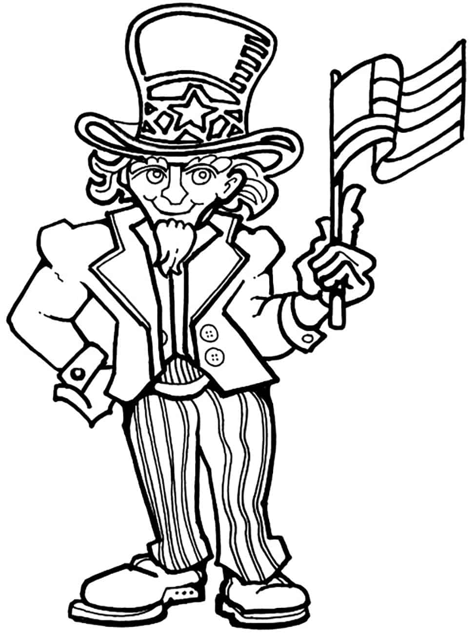 Free coloring pages for july 4th - 4th Of July Uncle Sam