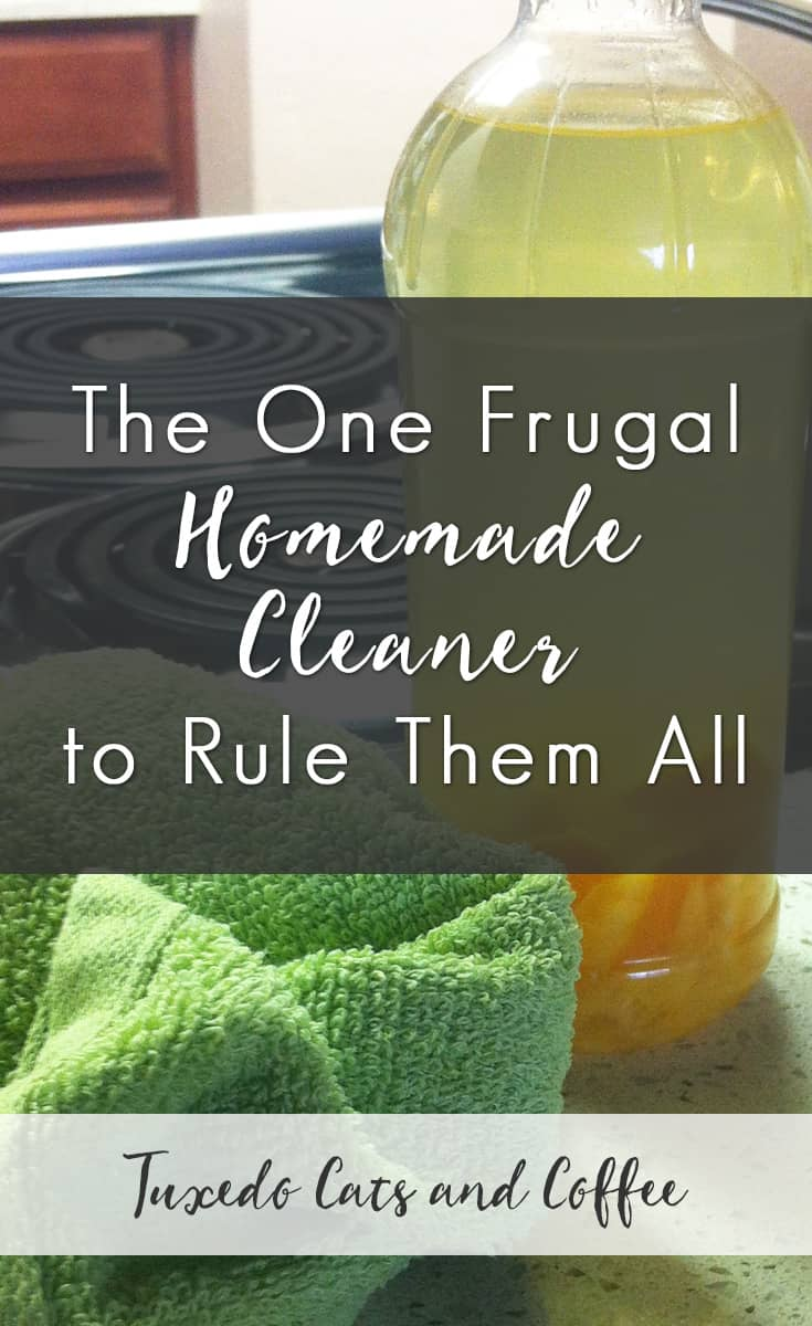 I'm not a very domestic person. I've probably disappointed my mother and grandmother, but in the meantime I'll continue microwaving my food and doing the laundry only when I run out of clean underwear. :) As for cleaning things, I recently discovered a super frugal and effective homemade cleaner that takes almost no time to make, smells great, and cleans very well. And it means I never have to buy a real cleaning product. Hooray! Here's my frugal homemade cleaner.