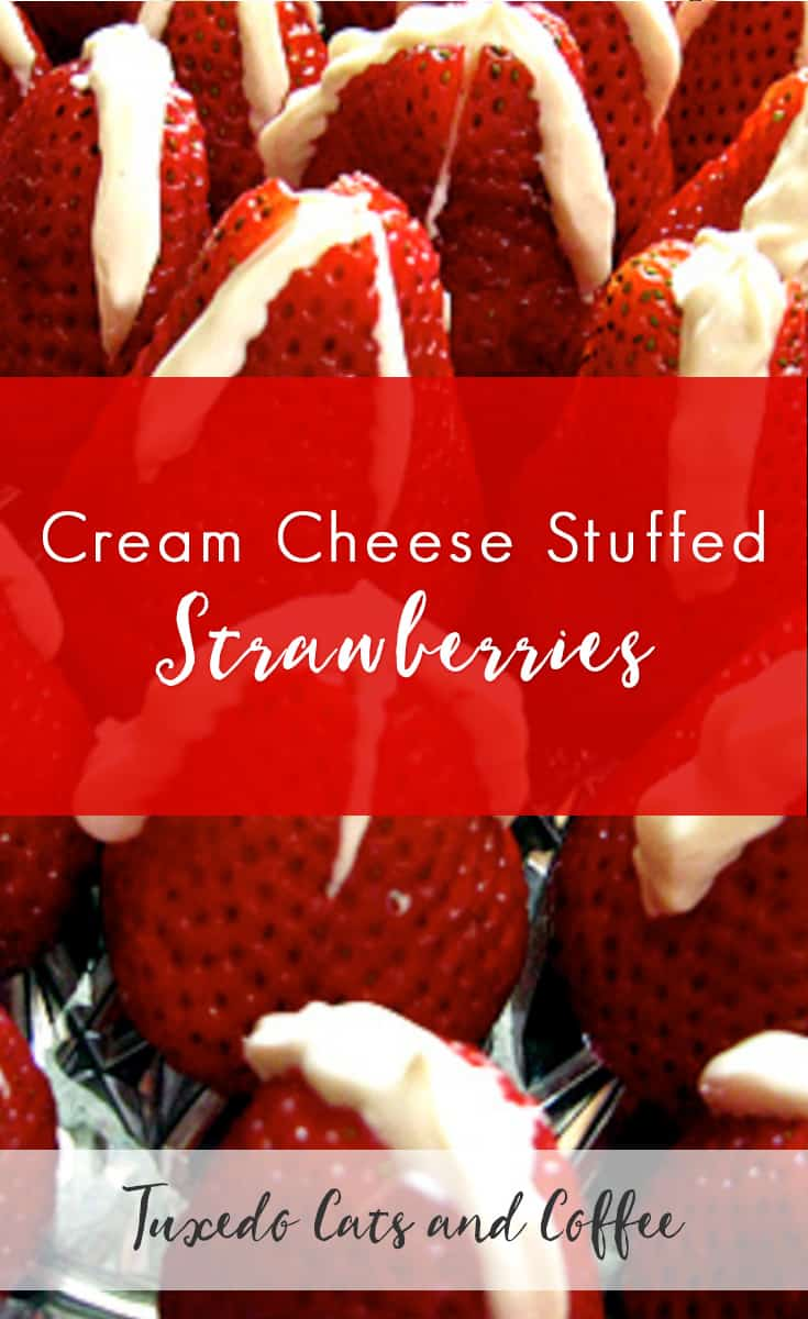 Cream cheese stuffed strawberries are an impressive-looking dessert that's great to serve on a decorative platter at a party for a fancy finger food for guests.  They're simple to make too!