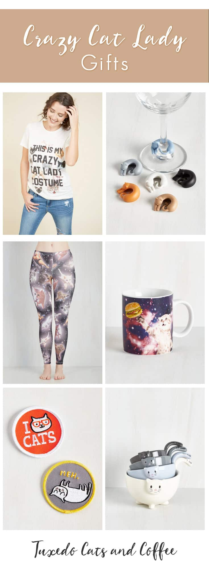 I don't know about you, but I'm totally a crazy cat lady (I named my blog after my tuxedo cat!), and I know that I would proudly wear or use most of the things on this list. What about you? Here are some perfect crazy cat lady gifts for the crazy cat lady in your life. :)