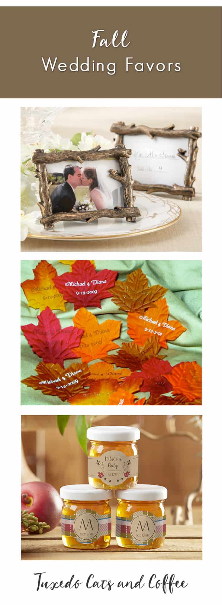 Celebrate your fall wedding with beautiful, rustic and fall wedding favors. We have everything from maple syrup in leaf-shaped bottles to pinecones and red, orange, and yellow fall colors and more. You can even customize your autumn wedding favors with a couple's monogram or your names. We have plenty of affordable favors for any fall themed wedding reception.