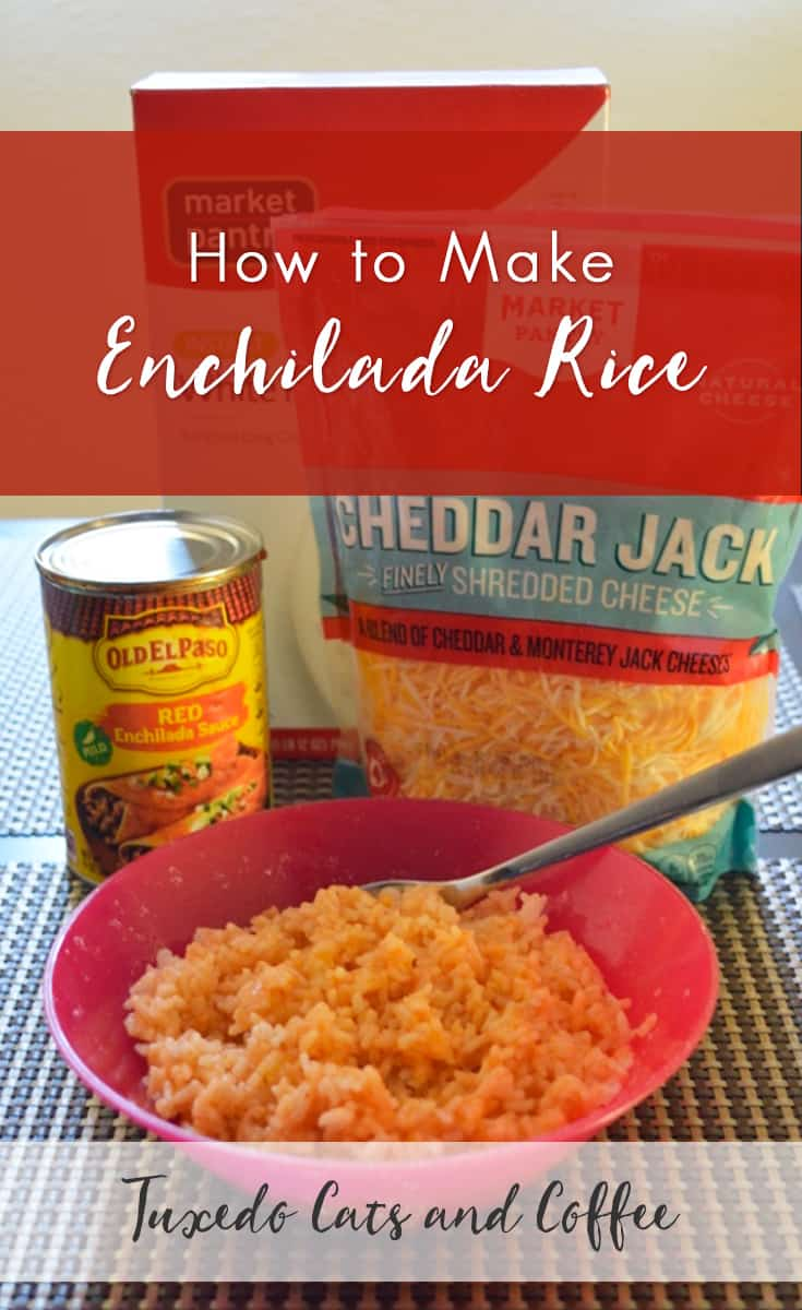 Enchilada rice is a very simple, microwave-friendly recipe that I created by throwing random things into my rice one day. If you use instant rice, you can whip up this easy meal in under five minutes!