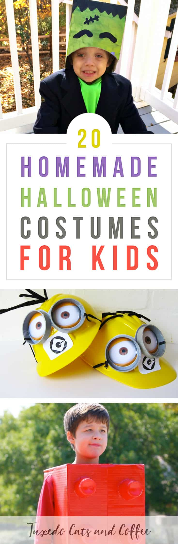 If you're on a budget, making your own homemade Halloween costumes is a great way to save money!  You can create a DIY Halloween costume for just about any idea - witches, Frankenstein, minions, Disney characters, and so much more.  Here are 20+ homemade Halloween costumes for kids.