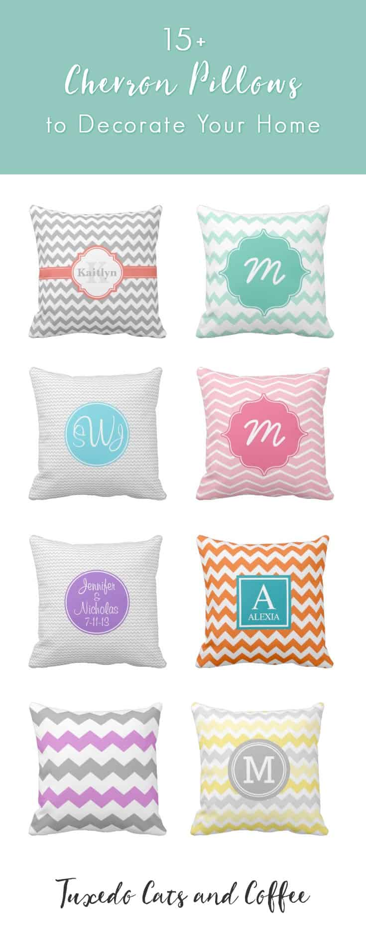 We have a huge selection of chevron pillows on this post. Decorate your home or couches with beautiful and modern chevron pillows. We even have monogram chevron pillows for a more personal touch.