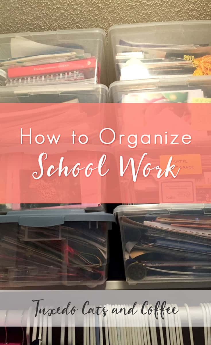 Recently when I was at home over Christmas I decided to go through my old stuff at my parents' house - including some things from childhood, like old school work - and declutter and organize a lot of it. Here's how to organize school work.