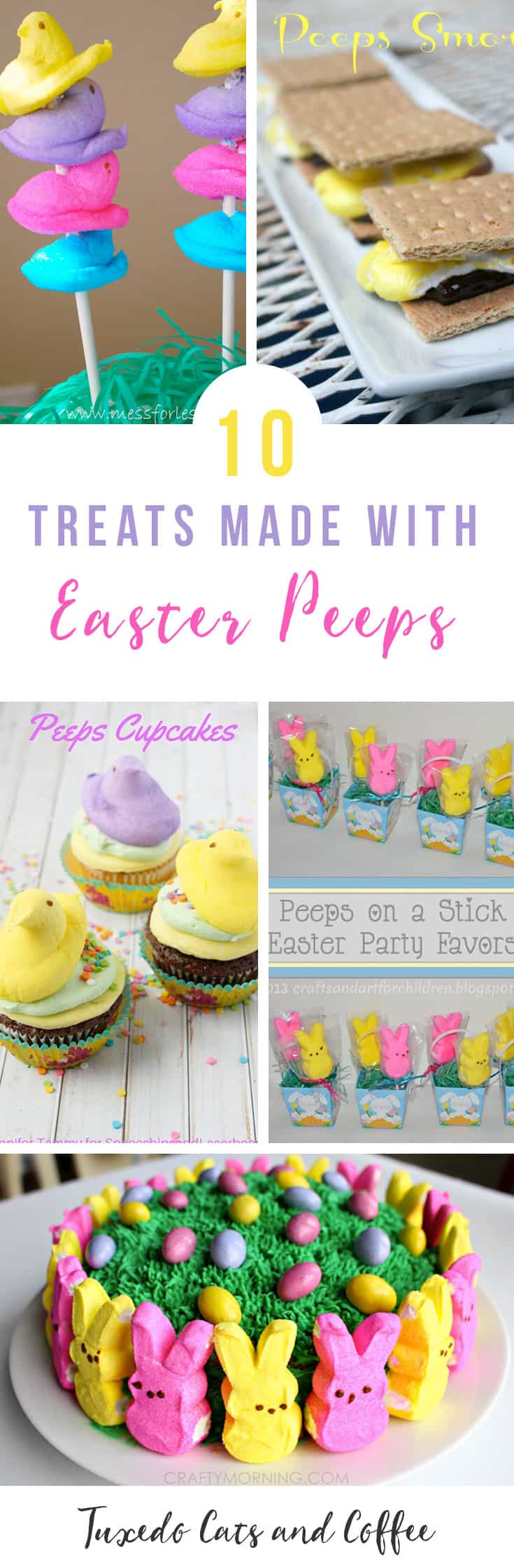 Don't you just love Easter Peeps? They come in such pretty colors and there's bunnies and chicks, oh my! Here are 10+ treats made with Easter Peeps marshmallows just in time for Easter Sunday.