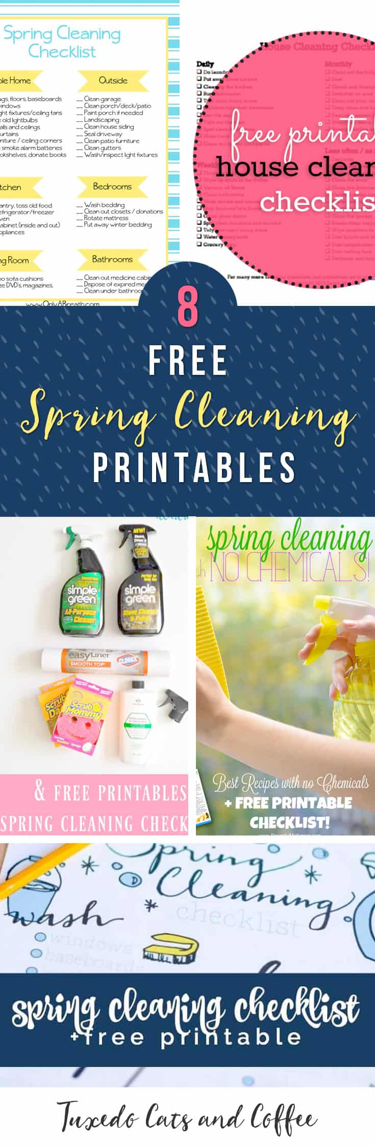 Have you tackled your spring cleaning yet?  It's always refreshing to have a cleaner house at the end of the process, even though the cleaning part can be a bit long.  Here are 8 free spring cleaning printables to help you clean your home!
