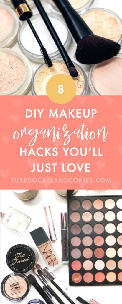 Is your makeup piled into drawers randomly or cluttering up your countertops? Here are 8 DIY makeup organization ideas and makeup organizing hacks on a budget to help you tame the clutter and make your makeup collection look a lot prettier and more usable.