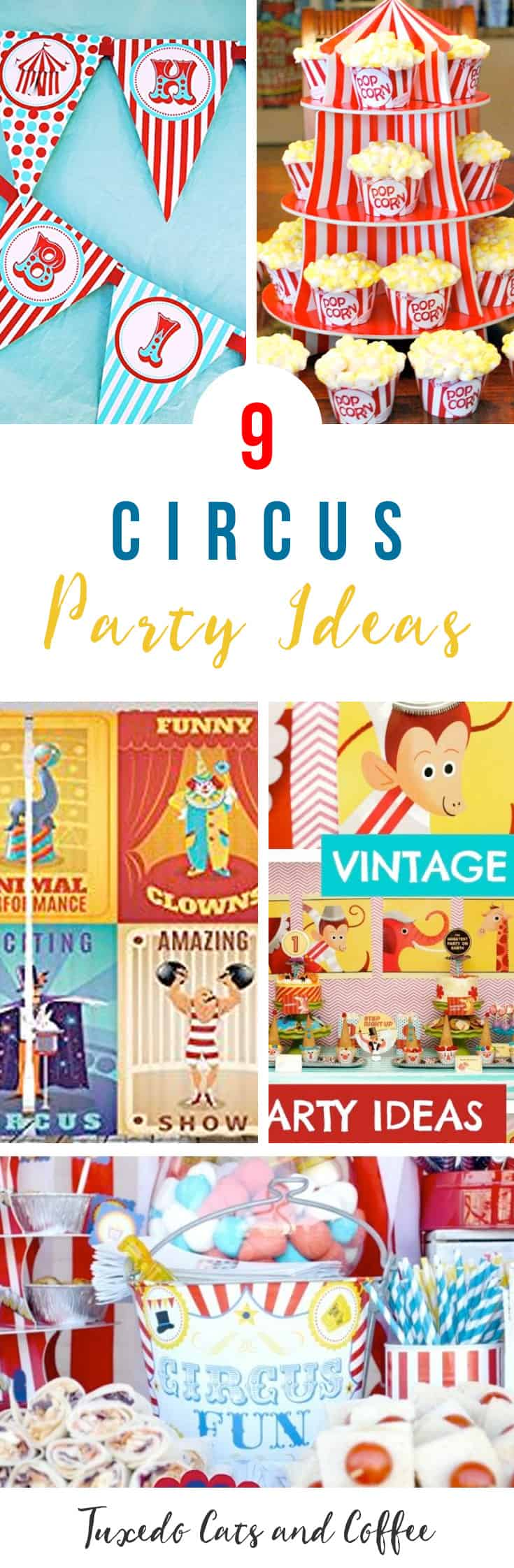 Throw a fun three ring circus party! These circus party decorations are great for a circus-themed birthday party and will be a hit among kids and children. Here are more than 9 circus party ideas.