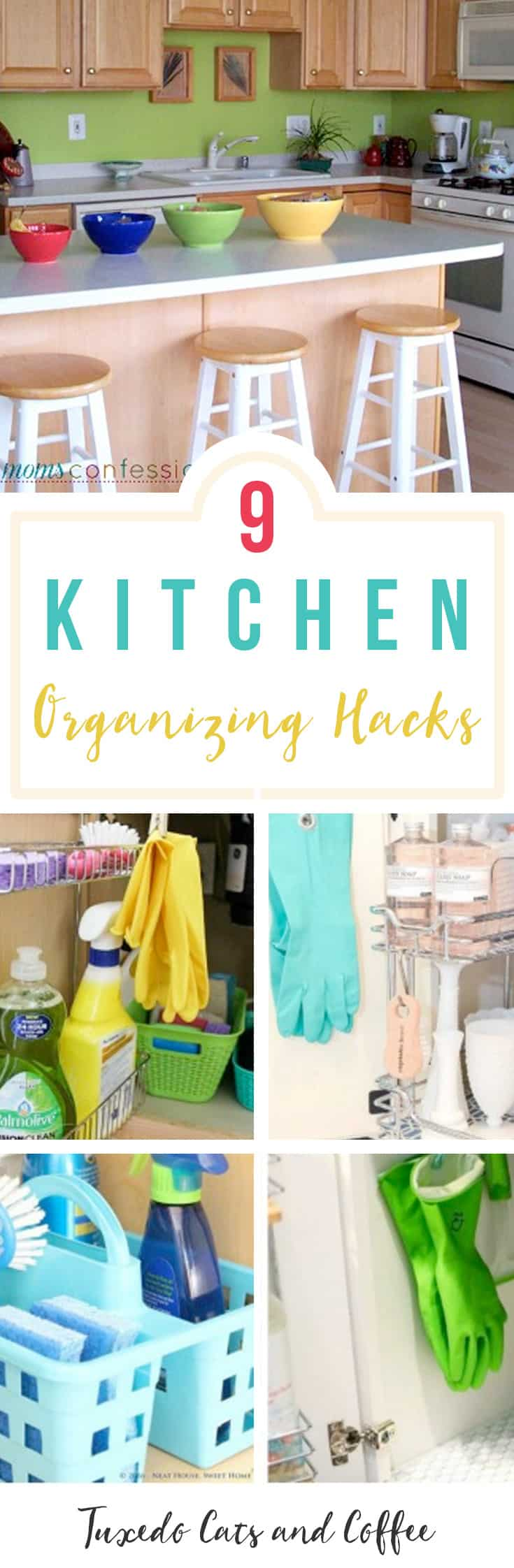 Is your kitchen a chaotic mess? Do you have trouble finding where things are or having no counter space to prepare meals because there's stuff everywhere? Here are 9 kitchen organizing hacks for a neater, better organized kitchen space.