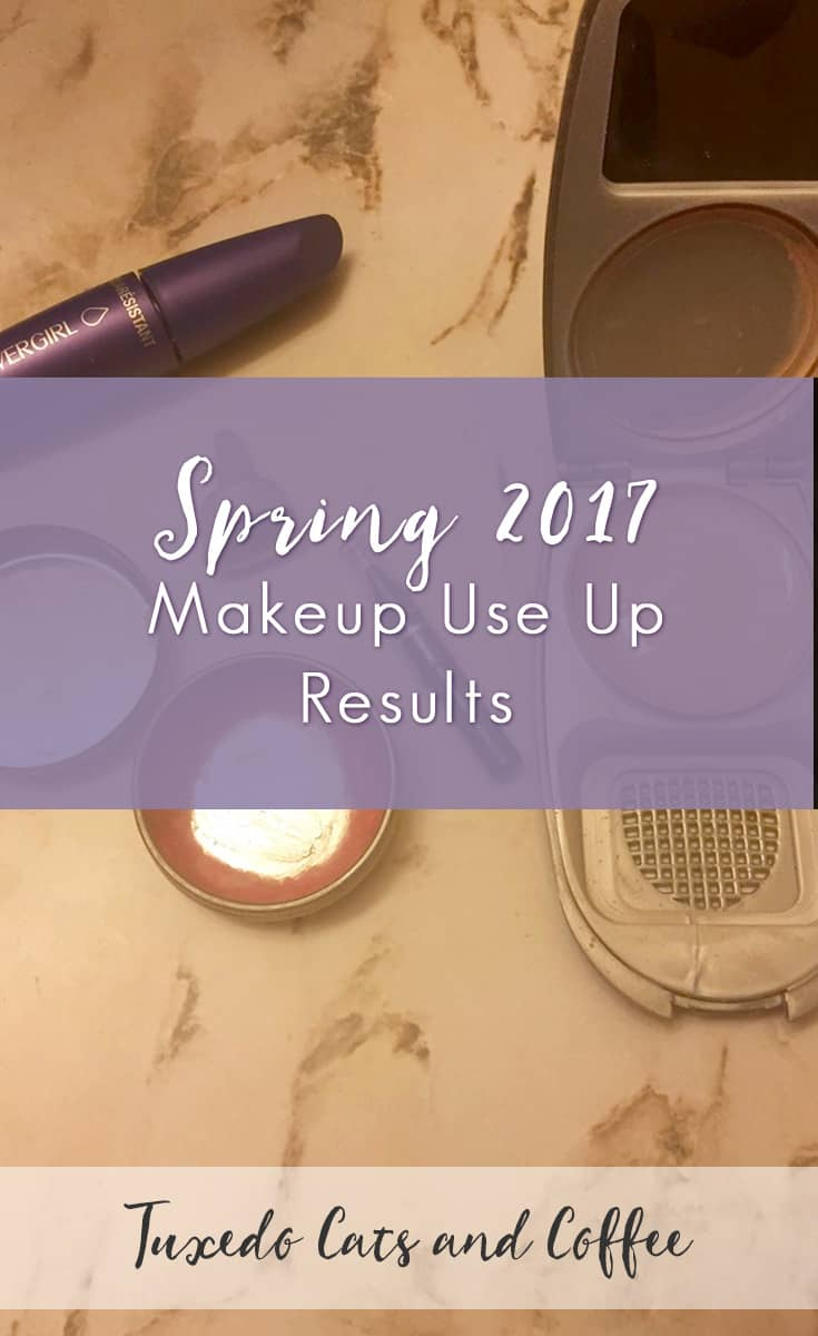 This year I've decided to do a few fun challenges to use up old makeup in my collection rather than buy new products. That way, I not only save money, but ultimately I'm also downsizing the amount of makeup I have. After I use up the old products, my only purchases will be replacing my favorite products (for the most part, anyway ;)). Here are the spring 2017 makeup use up results.