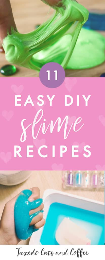 Slime is a squishy fun toy / science experiment / activity you can make at home. You can make colorful slime, fluffy slime, or even glittery slime! Here are 11 fun homemade slime recipes that require just a few ingredients that you might have around the house already. There are different recipes, including slime without borax and slime without glue in case you don't have that on hand or want to use different ingredients.