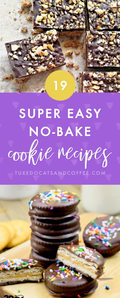 Need a quick and easy cookie recipe that doesn't require baking? Here are 19 no-bake cookie recipes for any occasion, including Christmas cookie exchanges, potlucks, and more! Many of these cookie recipes include peanut butter or oats since that makes a good base for a no-bake cookie. 🙂