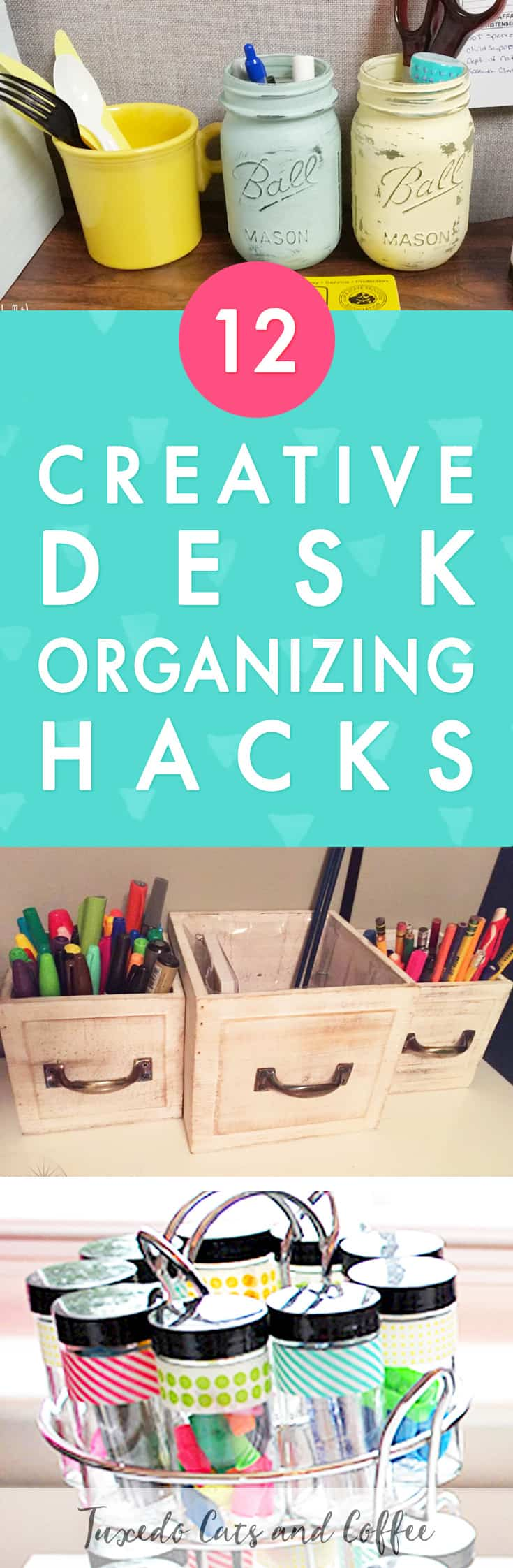 Is your office or desk space a cluttered mess? Are you finding it hard to be productive or get things done because you can't find anything and your desk is covered in papers and junk? Here are 12 genius desk organizing hacks to help get your home office together!