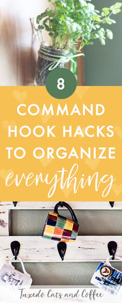 Want an easy, wall- and apartment-friendly way to organize your home? Here are 8 genius command hook hacks to organize and DIY just about everything! You can organize or hang things up with Command Hooks with adhesive strips and not have to worry about leaving holes or screws in anything.