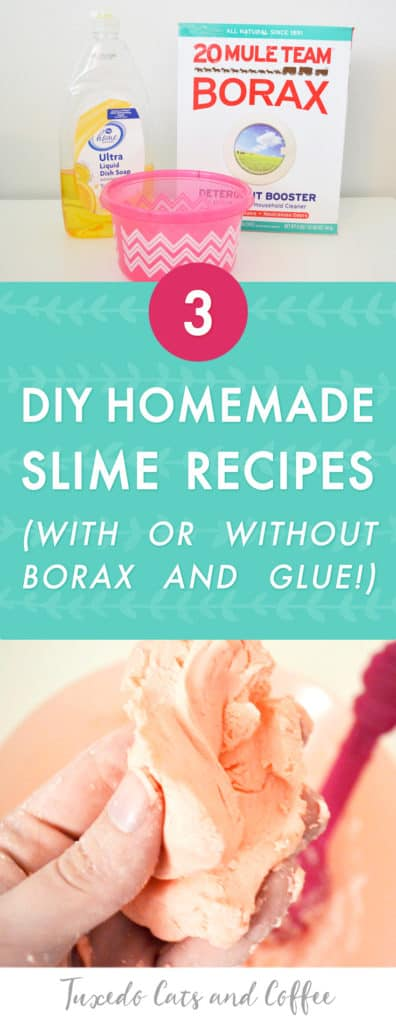 Have you ever wanted to make DIY slime but weren't sure how or which slime recipe to use? I tried a few popular methods and show how they all turned out in this post. Here are 3 different ways to make DIY homemade slime, with or without borax and glue.