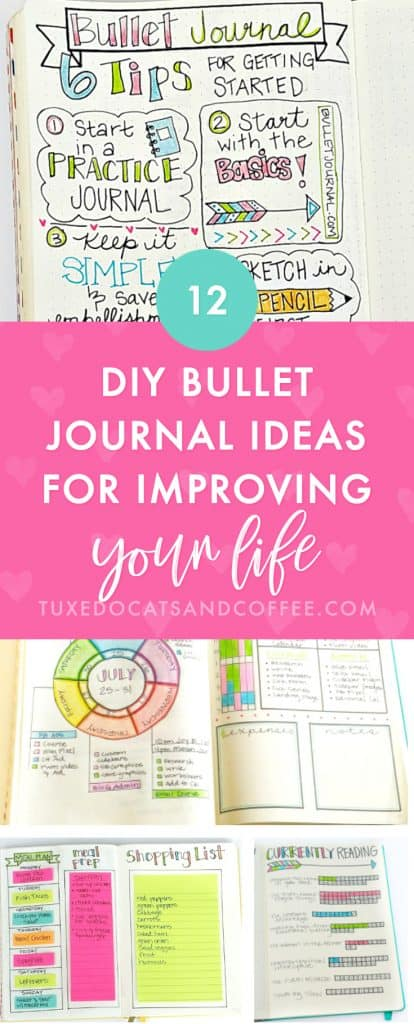 Have you heard of bullet journaling? It's a visual and creative approach to journaling that helps you keep track of things in your life and plan out your days and weeks visually on paper. It's like using a planner but you get to create your own pages however you want! Here are more than 12 DIY bullet journal ideas for improving your life.