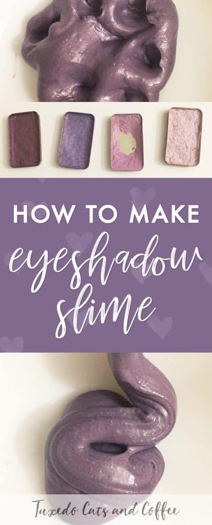 If you're looking for a fun way to add color and glitter to your slime recipes, you'll love this eyeshadow slime that I made. Here's how to make eyeshadow slime. Perfect if you have a certain color of old eyeshadow that you just don't wear. :)