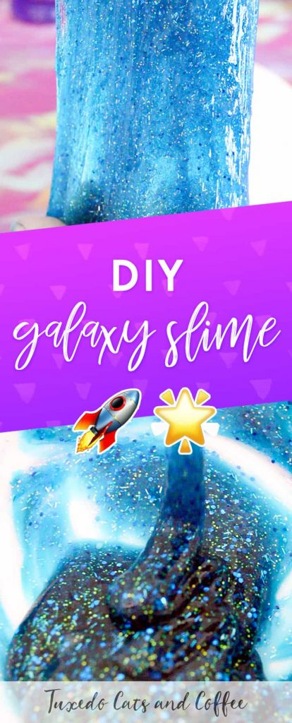 I had a BLAST making this DIY galaxy slime (see what I did there? ;)) and after an initial test with dyeing white glue with paint, I decided that translucent glitter glue created a much prettier galaxy effect. Here's how to make DIY galaxy slime!