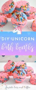 If you love using bath fizzies or bath bombs, then you'll love these DIY unicorn bath bombs! They're pink and blue swirls with rainbow sprinkles on top for extra unicorn magical-ness. ;)