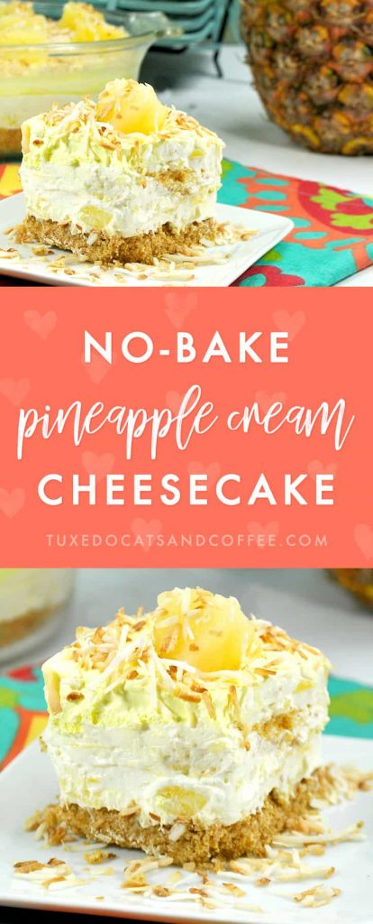 If you're looking for a delicious no bake dessert recipe for summer, try this pineapple cream cheesecake! The pineapple and coconut will remind you of sandy beaches and you don't even have to heat up a hot oven. :)