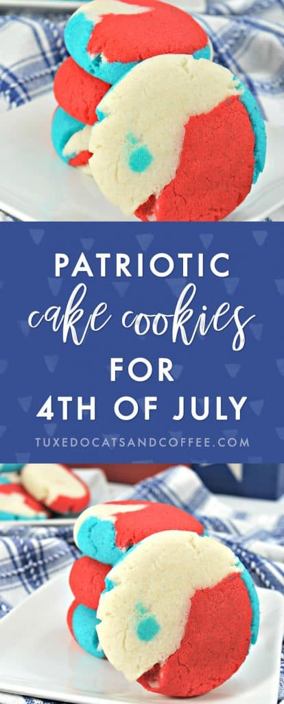 Celebrate America's Independence Day this year with these cute and easy red, white, and blue patriotic cake cookies for 4th of July! They're festive and easy-to-make 4th of July cookies that everyone will love.