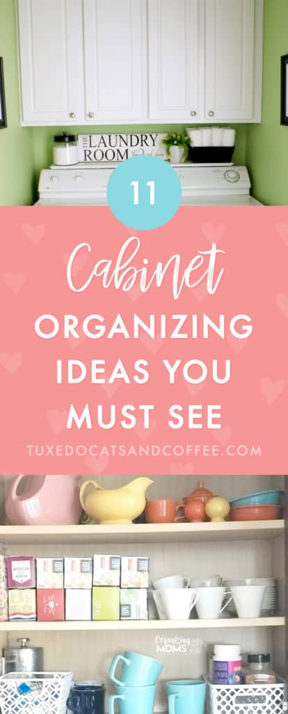 Most likely between the kitchen, bathroom, or other rooms in your home, you probably have cabinets somewhere, and they tend to be an easy dumping ground for clutter because it's out of sight, out of mind. But you can organize your cabinets! Here are 11 cabinet organizing ideas to organize various areas of your home that involve storage cabinets of any kind.
