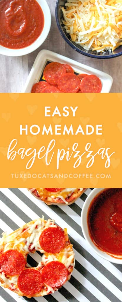 If you're looking for a quick lunch or dinner meal that's fun to make and can be customized with your own topping, try these easy homemade bagel pizzas!