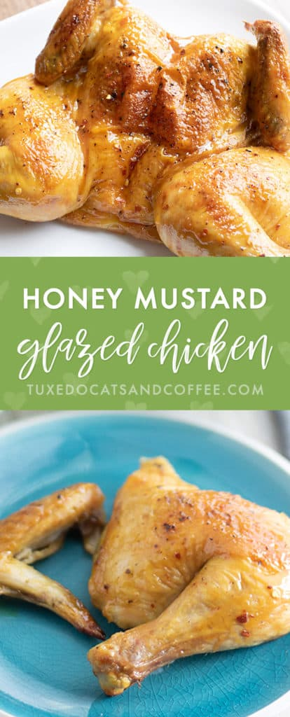 This honey mustard glazed chicken is a delicious dinner or main course that'll look like you spent all day cooking in the kitchen! It's made in a roasting pan with a sweet glaze on top.