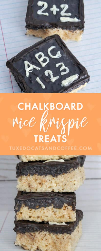 These fun candy coated rice krispie treats look like miniature blackboards! They're a perfect treat for back to school, Teacher Appreciation Day, a gift for teachers, or the end of the school year. Try making these easy and cute back to school chalkboard rice krispie treats today.