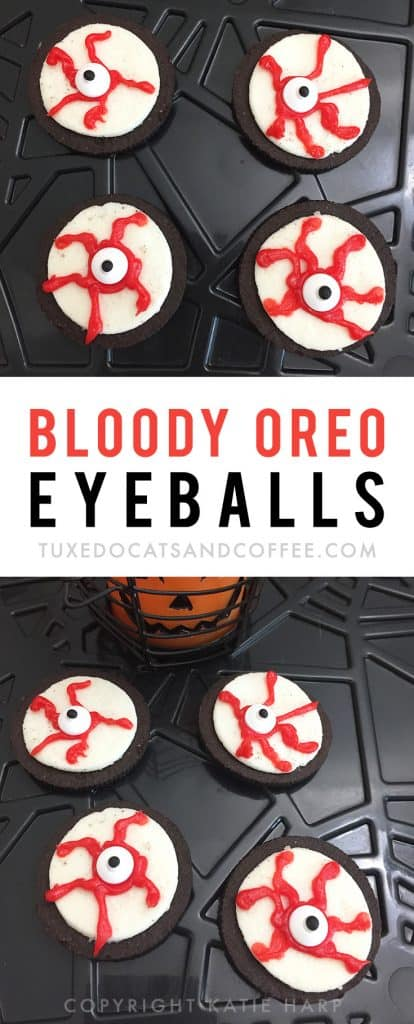 These creepy bloody Oreo eyeballs are a great Halloween treat for your food table or Halloween party. You can put them together in just a few minutes and have an easy Halloween snack for your sweet tooth!