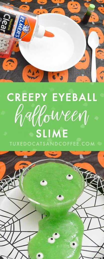 If you're looking for a fun and creepy Halloween craft or activity to do, you'll love this green eyeball Halloween slime! It's gross and spooky looking and full of fake eyeballs for a Halloween party or craft. ;)