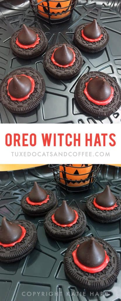 Decorate the food table at your Halloween party with these cute Oreo witch hats. They're a cute Halloween dessert that you can make in just minutes and impress your guests! They're also a chocolately and delicious spooky Halloween treat.