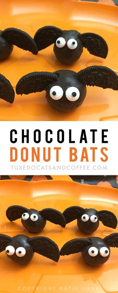 These chocolate donut bats are a quick and easy dessert to make for your Halloween party. All you need are chocolate doughnut holes, some Oreos, and candy eyes.
