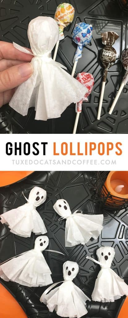 These Halloween ghost lollipops are a cute and simple way to dress up Halloween candy for trick-or-treaters or for a Halloween party. They'd be a cute decoration on a Halloween table for your party or as a party favor.