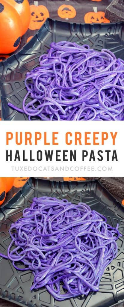 If you're looking for an easy Halloween dinner that looks spooky but is super simple and easy to make, try this purple creepy Halloween pasta. :) If you're having a Halloween party and have tons of candy and dessert ideas but don't know what to serve as a main dish, try these easy Halloween noodles.